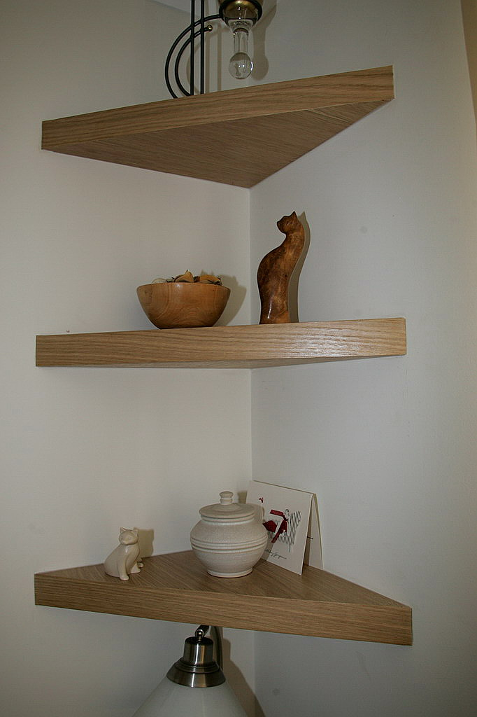 Oak corner floating shelves