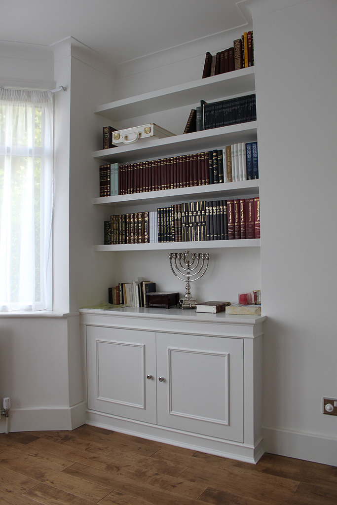 White chunky shelves and alcove cupboard, Hendon