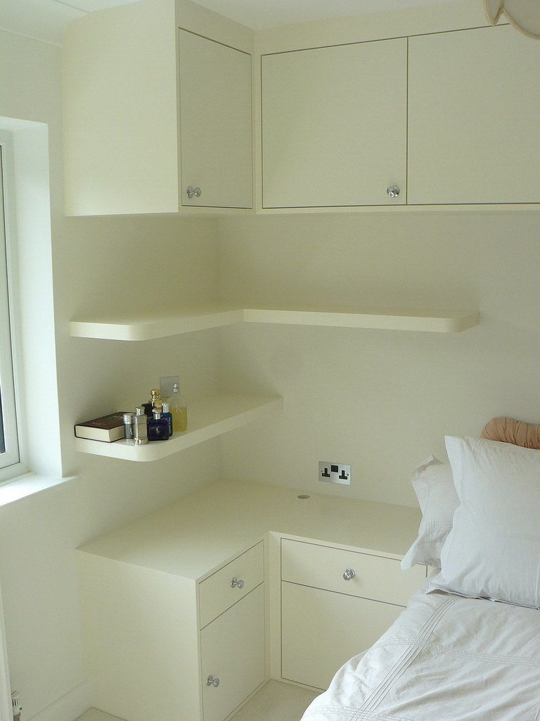Bed side table, shelves and cupboards nw2
