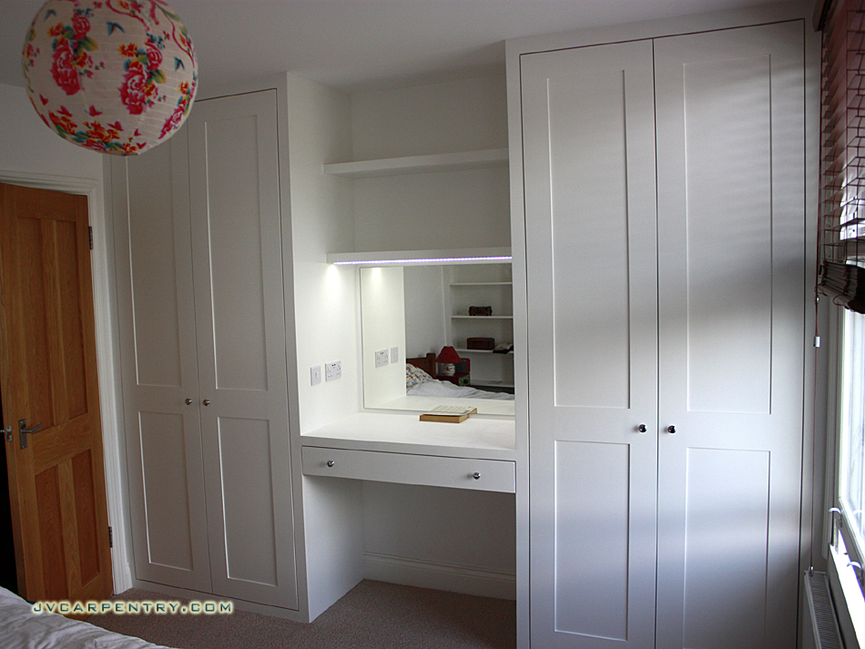 Two shaker wardrobes with dressing table
