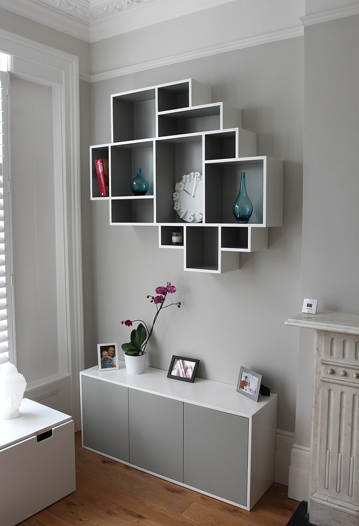 Modern, minimalistic fitted bookcase in Victorian period property, Ealing W5