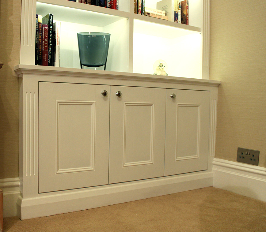 Victorian alcove bookcase with built in LED lights