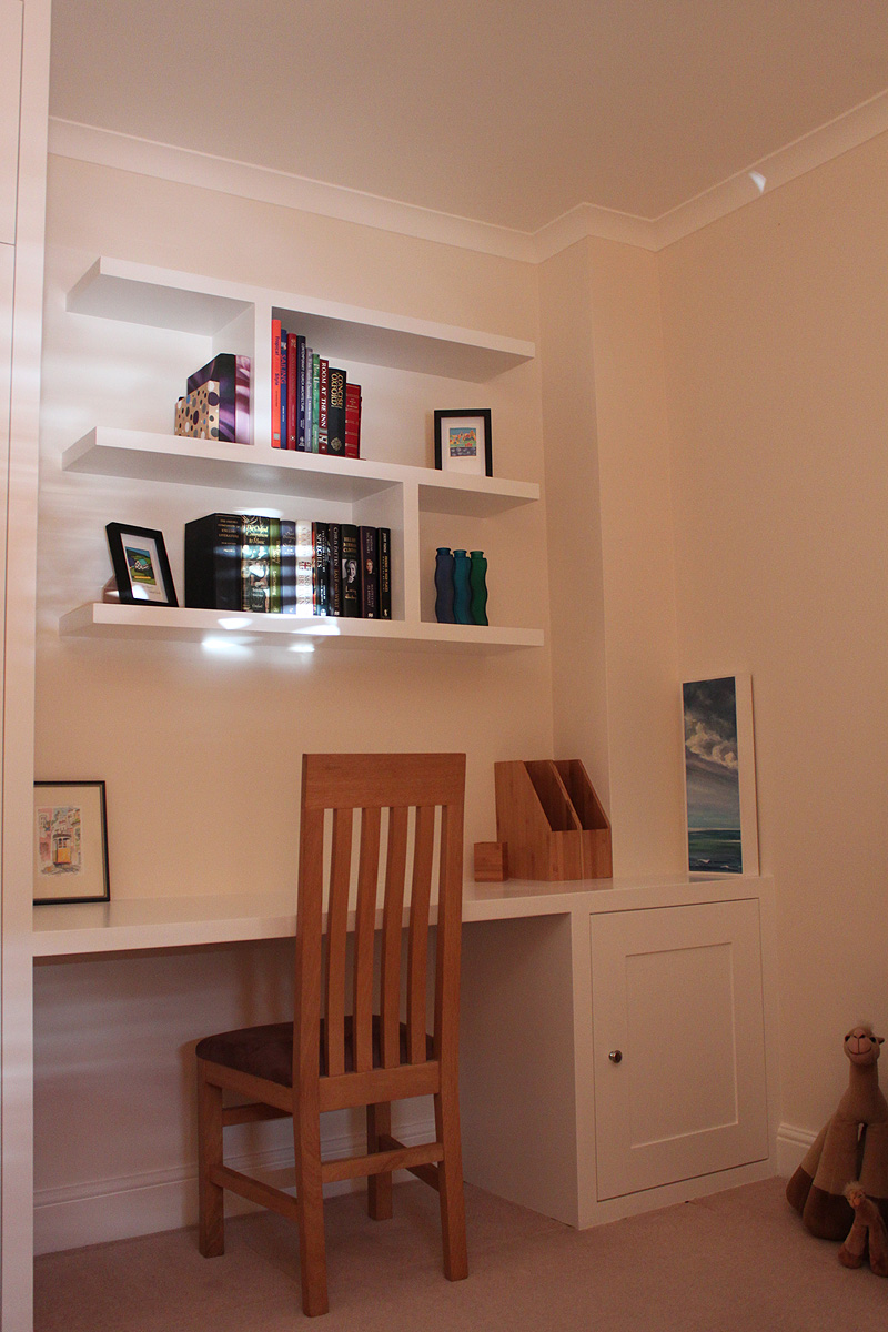 Floating shelves and fitted desk with cupboard in Wandsworth, SW18