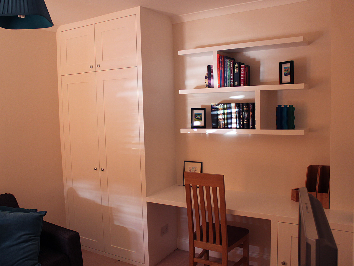 Fitted wardrobe, floating shelves and fitted desk with cupboard in Wandsworth, SW18
