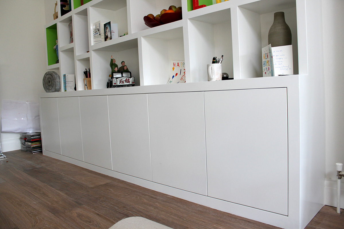 Contemporary Modern look fitted bookcase.