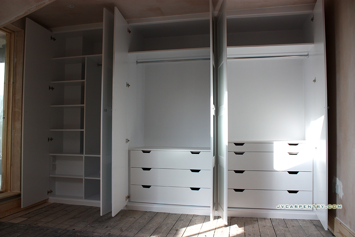 Interior of the wardrobe with drawers