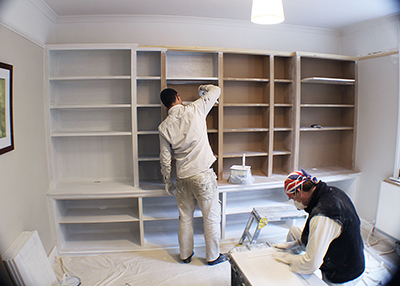fitted bookshelves, painting