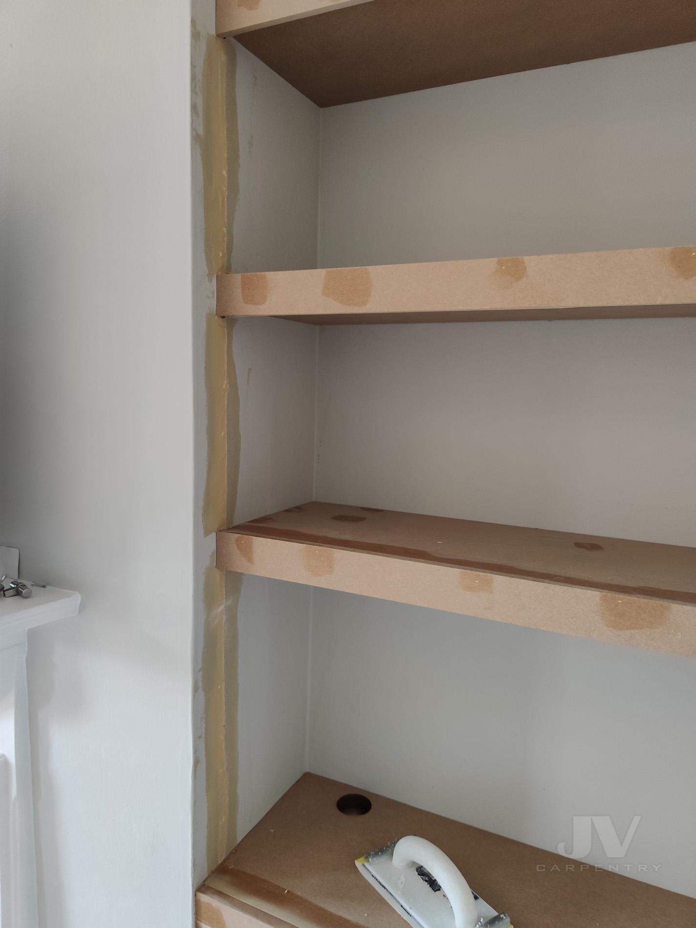 filling the chimney breast lights in shelves