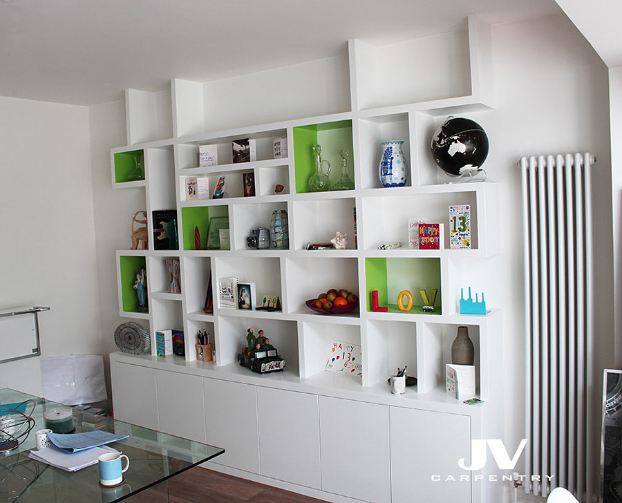 Contemporary fitted bookcase
