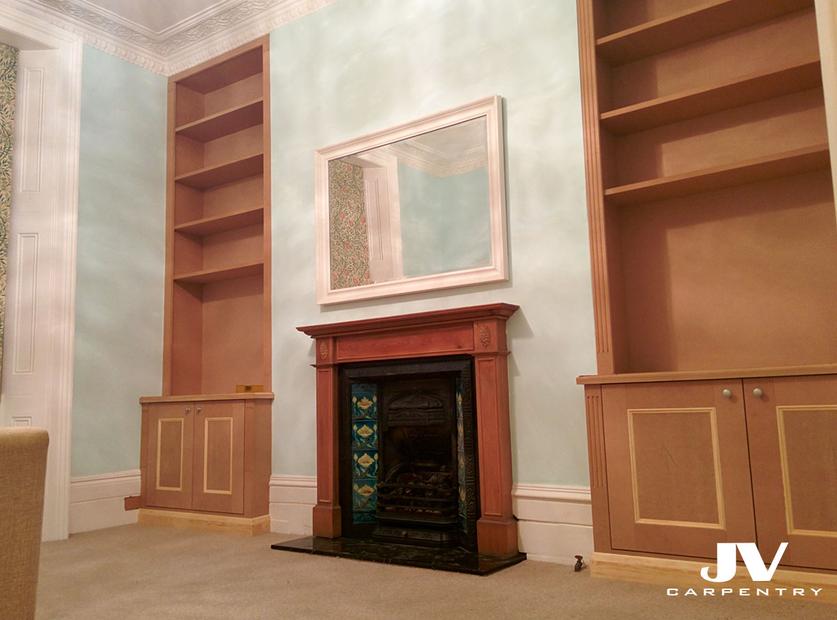 fitted alcove cabinets with bookshelves, victorian style. Unpainted MDF