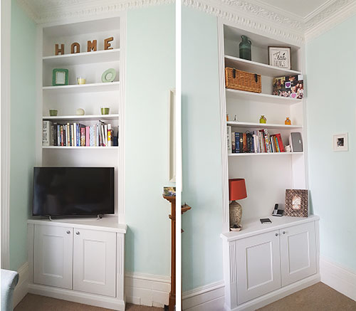 Alcove cupboards and bookcases