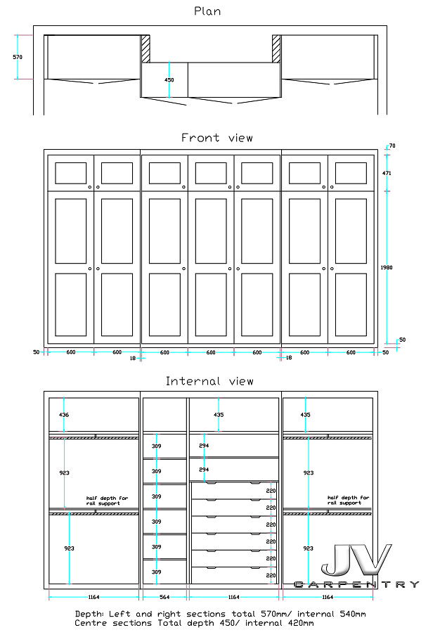 Drawing and plan of the Fitted alcove wardrobes and wardrobes around chimney.