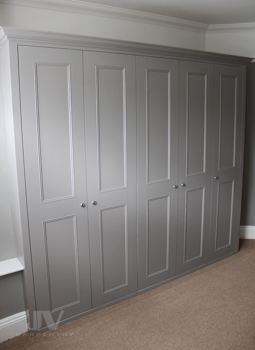 built-in bedroom wardrobe ideas in grey colour