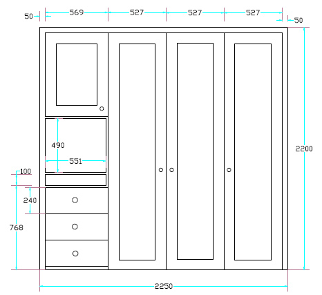 small fitted wardrobe drawing with dimensions