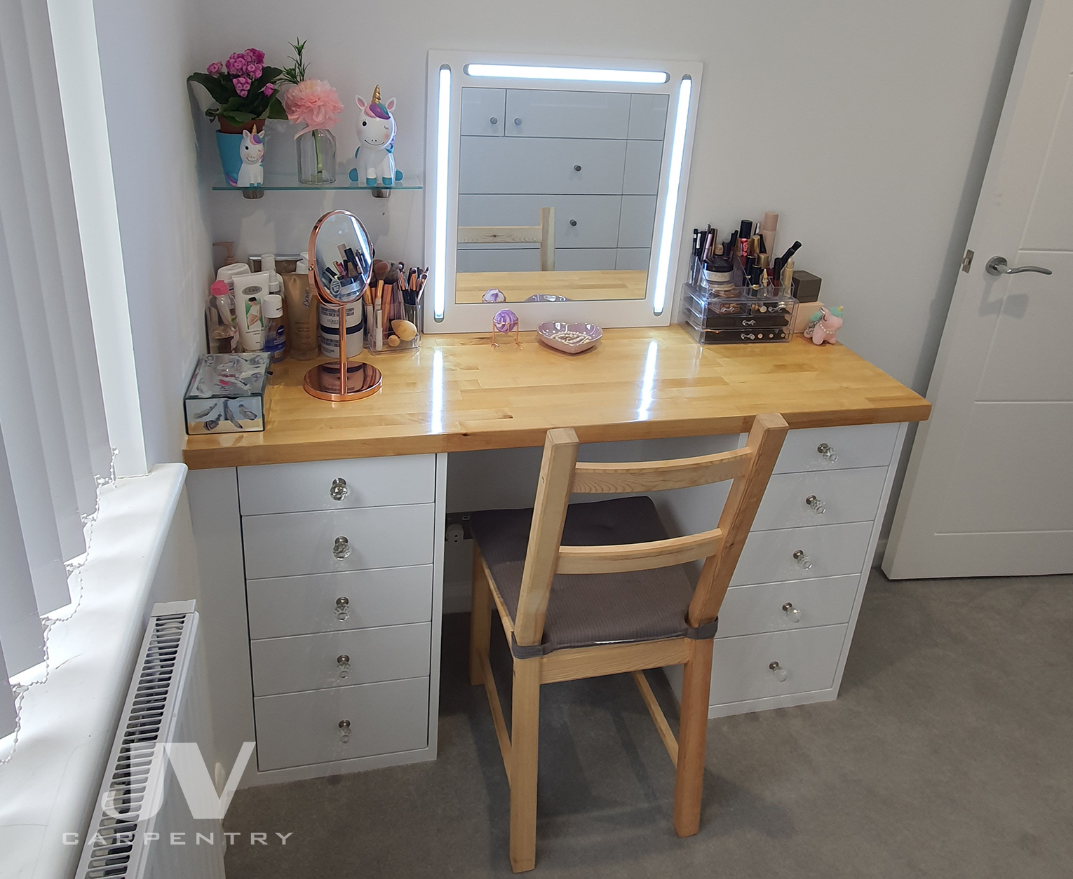 made-to-measure dressing table with fitted mirror and wooden counter top