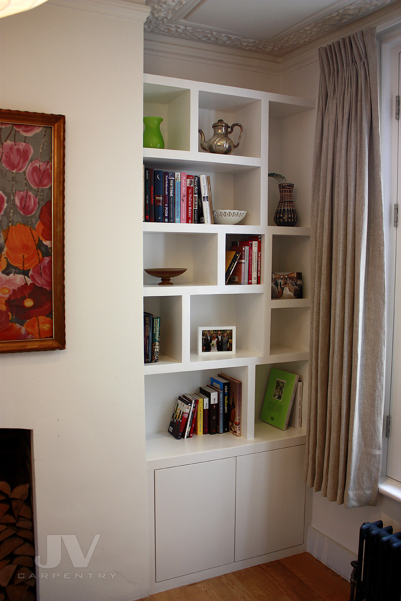 random alcove floating shelves with cabinet (RHS)