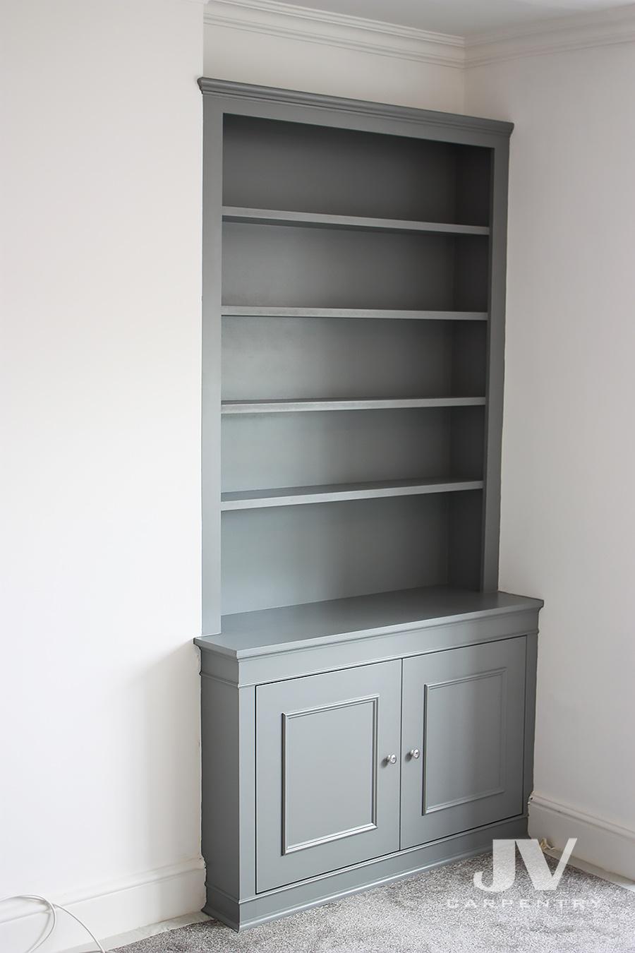 Alcove bookshelves dark colour (RHS)