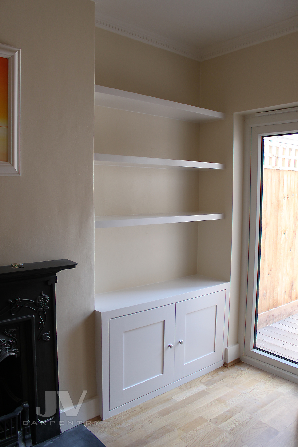 alcove floating shelves idea 5, RHS