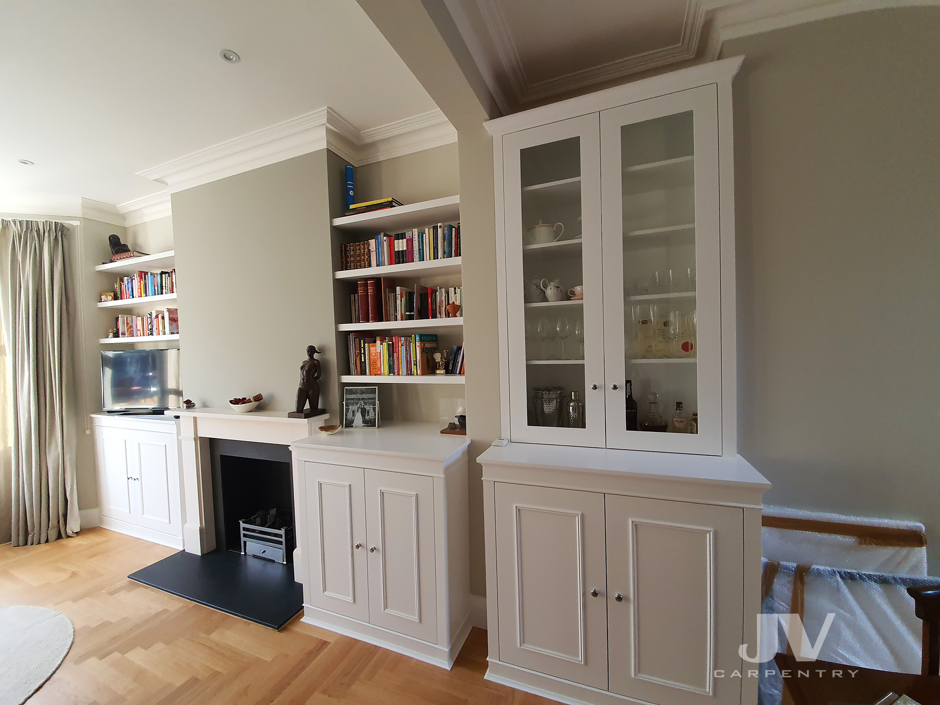 fitted alcove units and floating shelves