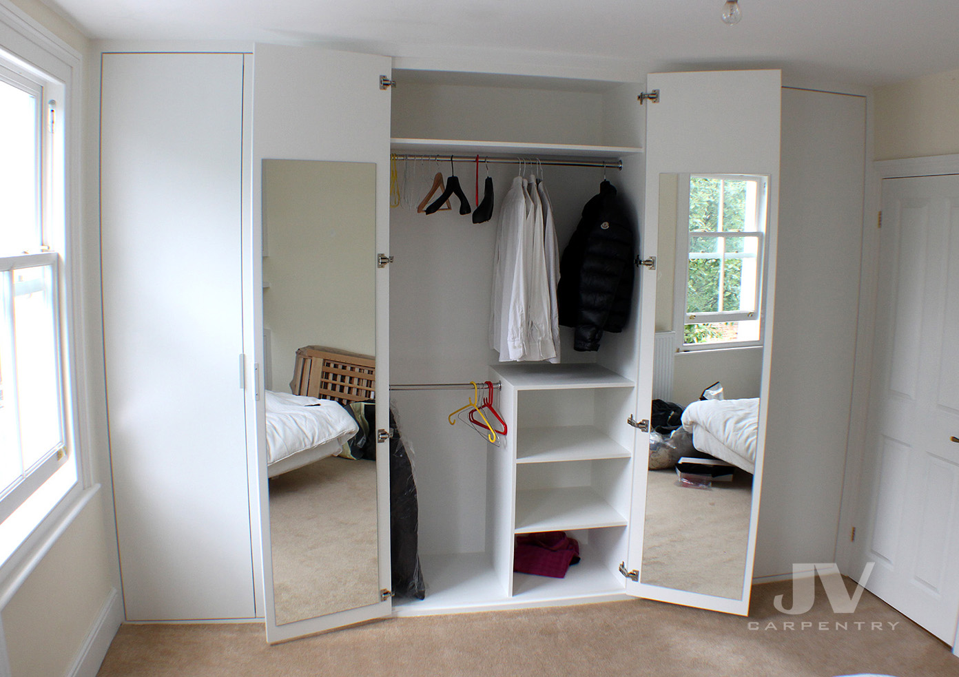 fitted wardrobe interior ideas with mirrors at the back of the doors