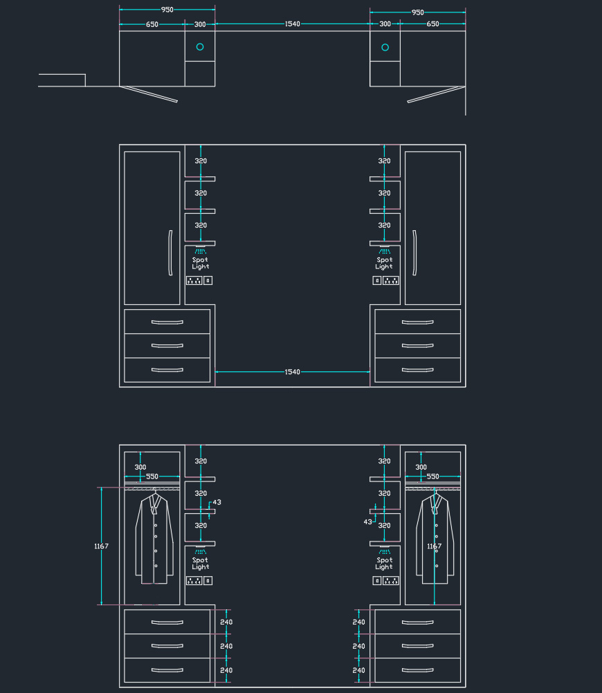 wardrobes around bed cad drawing