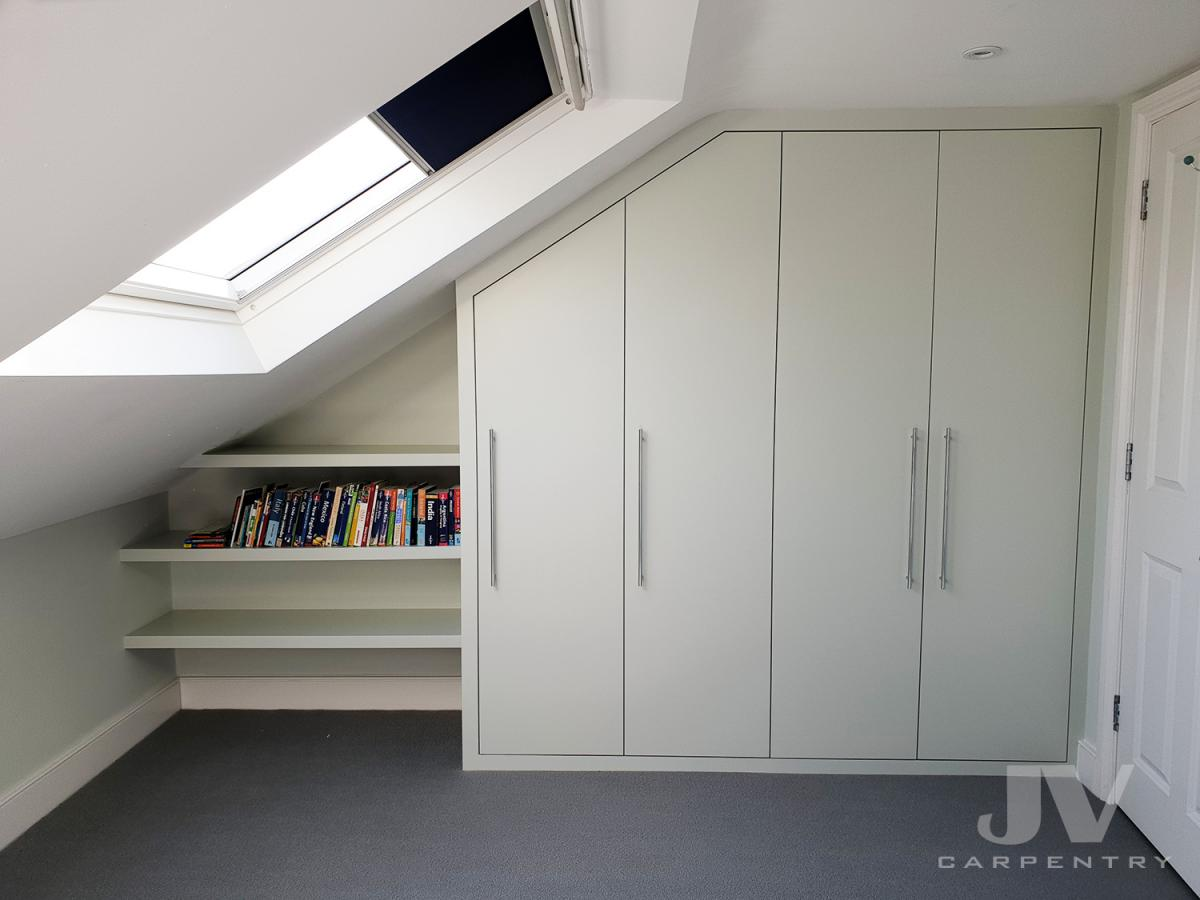 Attic wardrobe with floating shelves
