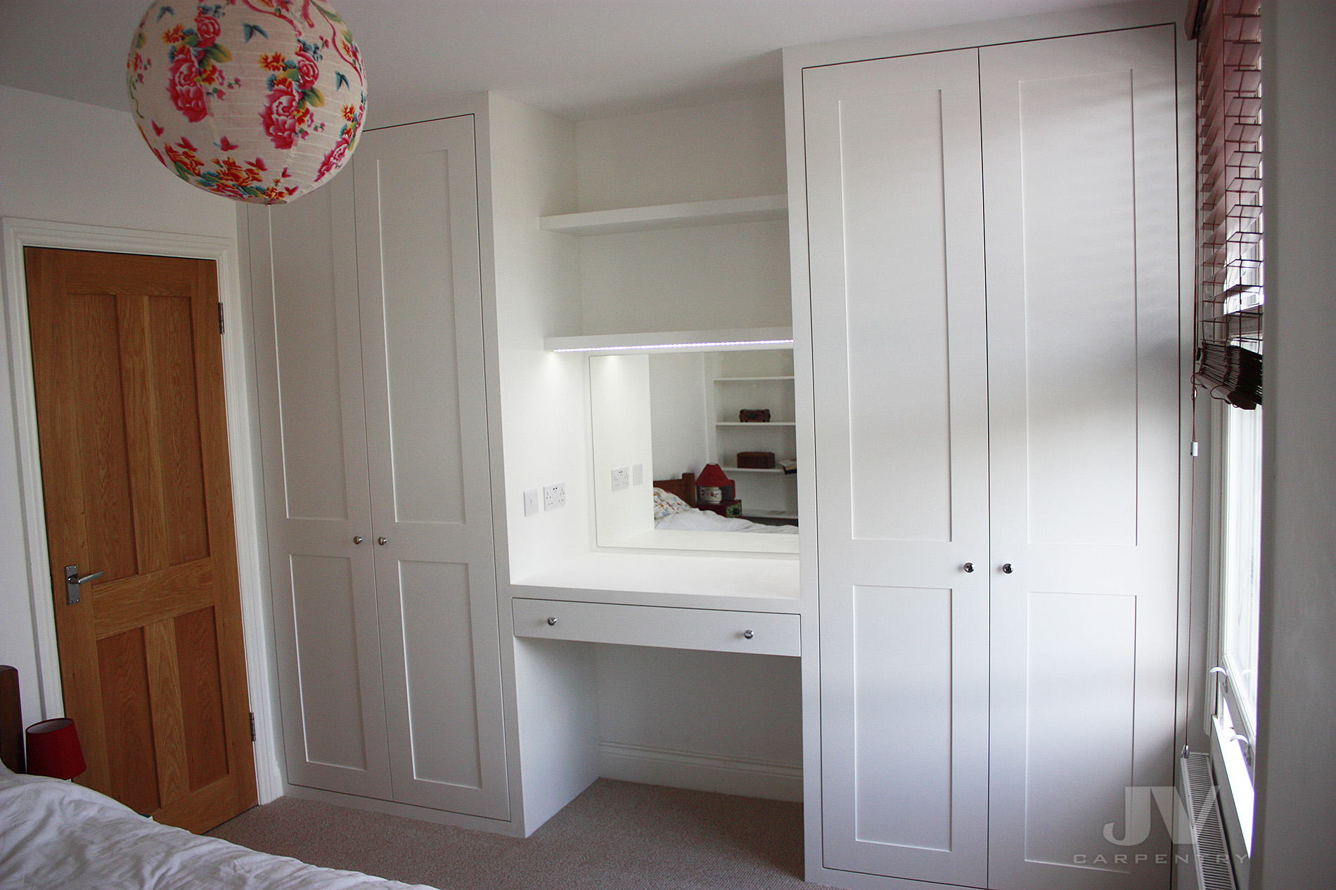 Two fitted wardrobes with dressing table