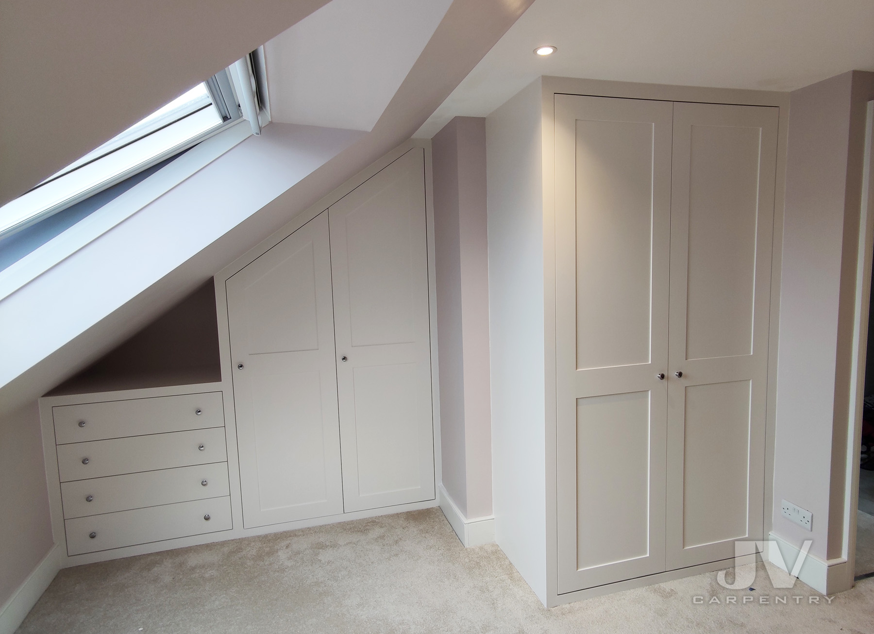 Attic wardrobes with drawers