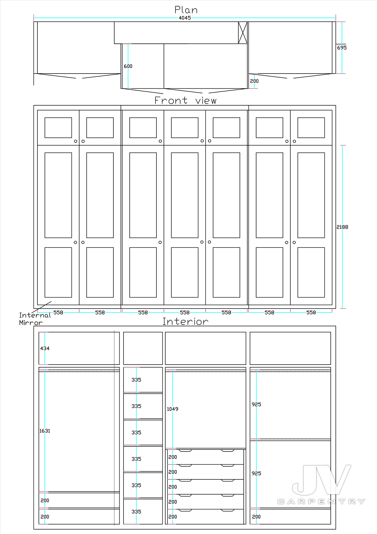 Fitted wardrobe drawing