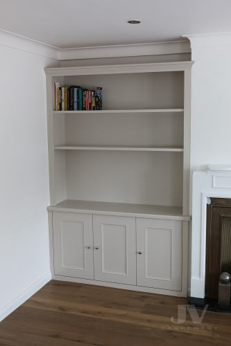 Alcove bookshelves and cabinet