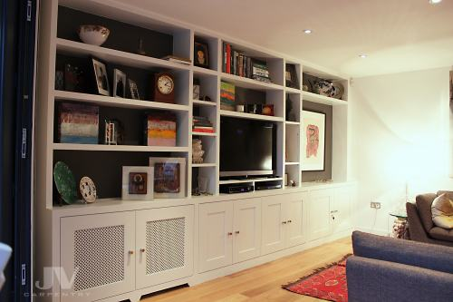 Bespoke bookcases with cabinets