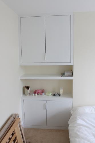 Alcove bookshelf with cabinets