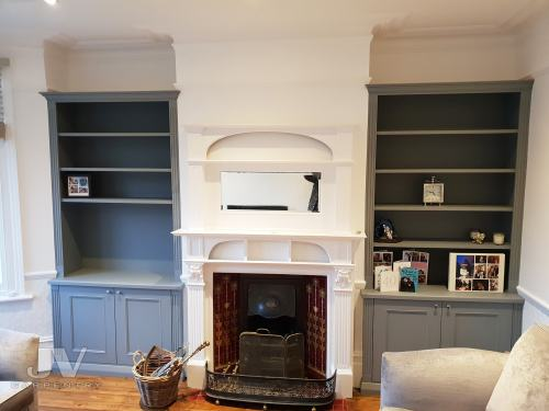 alcove bookcases to match fireplace