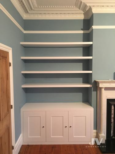 alcove shelving with cabinets