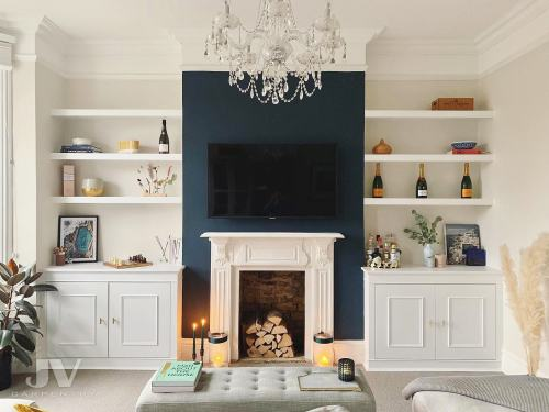 alcove cabinets with floating shelves