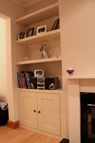 bespoke alcove cupboard with floating shelves