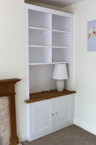 Living room fitted alcove with  oak top (RHS)