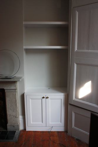 alcove cabinet and floating shelf