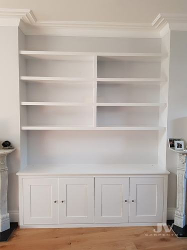 fitted alcove cupboards with floating shelves