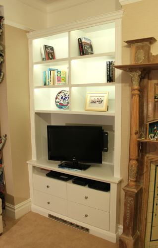 alcove bookshelves with LED light