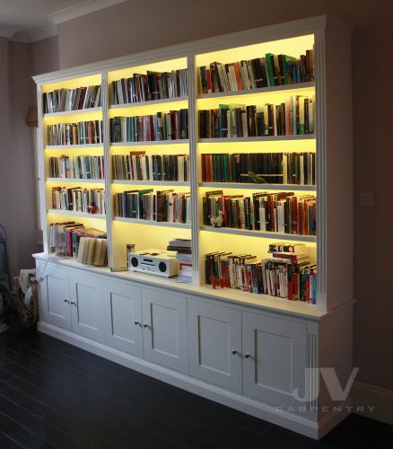 bookcase with illuminated shelves