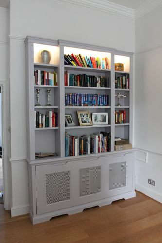 bookshelves with led