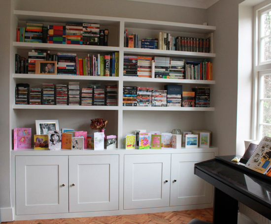 Fitted bookcase with floating shelves