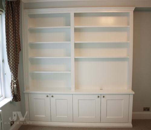 Traditional bookcase with the grooves