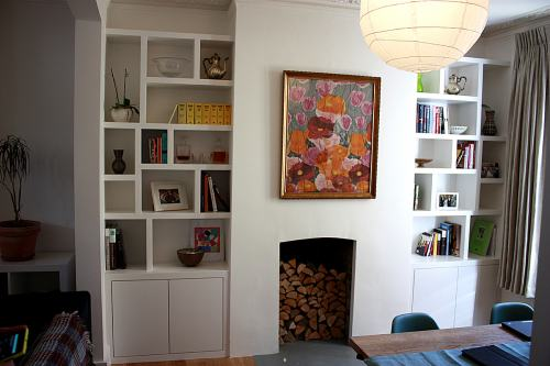 fitted alcove shelves