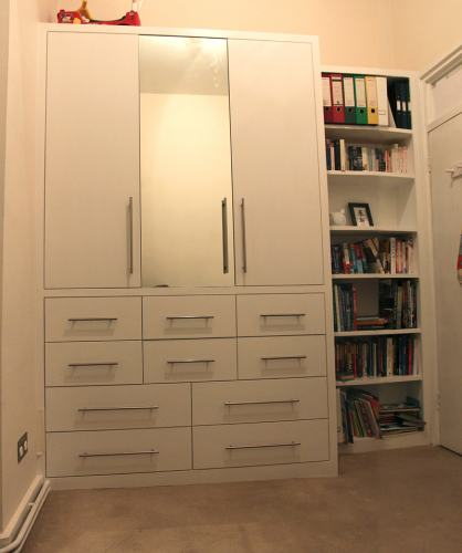 fitted wardrobe with bookcase