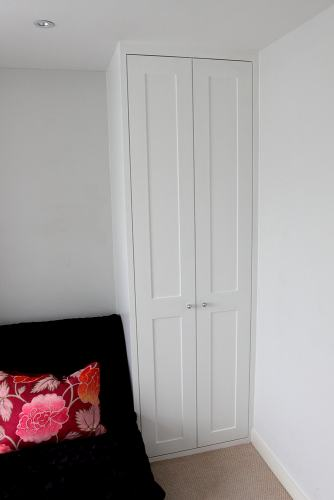 slim wardrobe with shaker doors