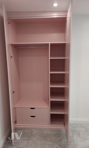 interior of the pink alcove wardrobe