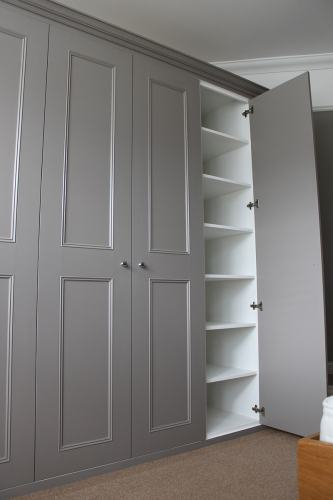 grey shaker with panel mouldings fitted wardrobe