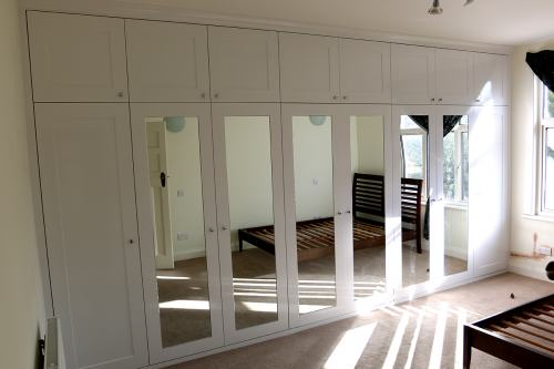 shaker wardrobe with mirrored doors